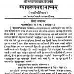 Vyakaran Mahabhashyam by विश्वनाथ विष्णु आपटे - Vishvnath Vishnu Aapate