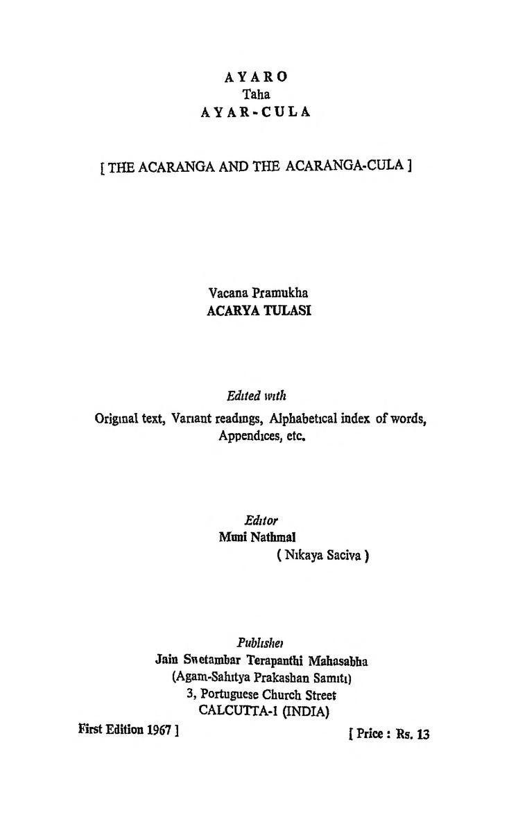 Book Image : आयारो तह आयार चूला - 1921aayaro Tah Aayar-chula